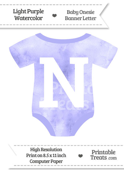 Light Purple Watercolor Baby Onesie Shaped Banner Letter N from PrintableTreats.com