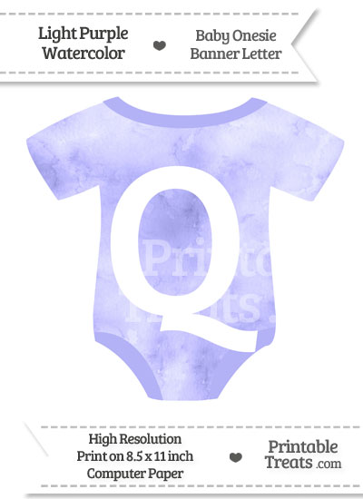 Light Purple Watercolor Baby Onesie Shaped Banner Letter Q from PrintableTreats.com