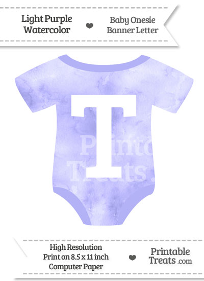Light Purple Watercolor Baby Onesie Shaped Banner Letter T from PrintableTreats.com