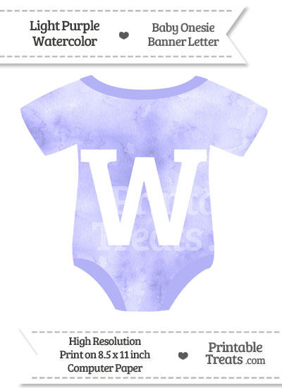 Light Purple Watercolor Baby Onesie Shaped Banner Letter W from PrintableTreats.com