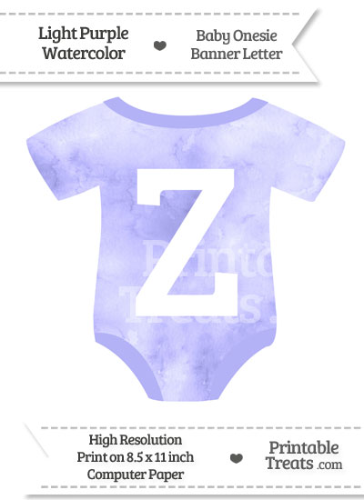 Light Purple Watercolor Baby Onesie Shaped Banner Letter Z from PrintableTreats.com