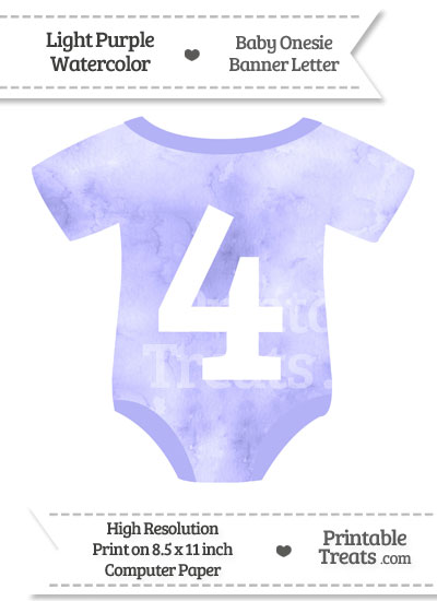 Light Purple Watercolor Baby Onesie Shaped Banner Number 4 from PrintableTreats.com