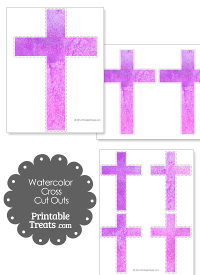 Light Purple Watercolor Cross Cut Outs from PrintableTreats.com