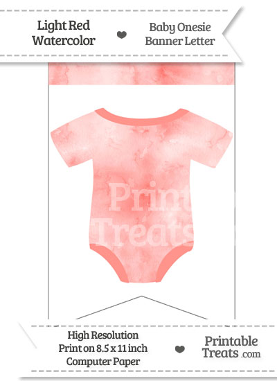 Light Red Watercolor Baby Onesie Bunting Banner Blank Spacer Flag from PrintableTreats.com