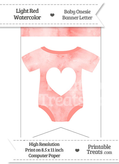 Light Red Watercolor Baby Onesie Bunting Banner Heart End Flag from PrintableTreats.com