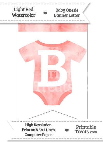 Light Red Watercolor Baby Onesie Bunting Banner Letter B from PrintableTreats.com
