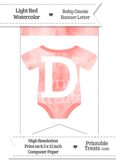 Light Red Watercolor Baby Onesie Bunting Banner Letter D from PrintableTreats.com