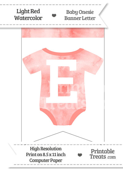 Light Red Watercolor Baby Onesie Bunting Banner Letter E from PrintableTreats.com