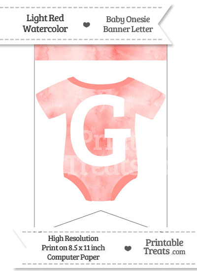 Light Red Watercolor Baby Onesie Bunting Banner Letter G from PrintableTreats.com