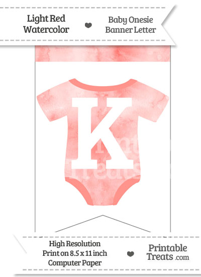 Light Red Watercolor Baby Onesie Bunting Banner Letter K from PrintableTreats.com