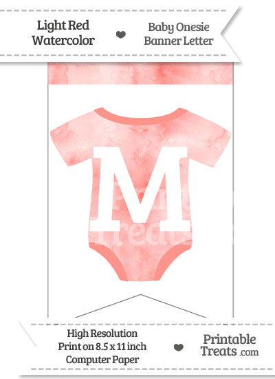 Light Red Watercolor Baby Onesie Bunting Banner Letter M from PrintableTreats.com