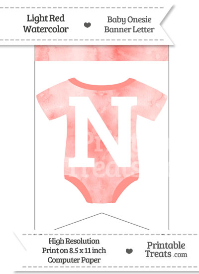 Light Red Watercolor Baby Onesie Bunting Banner Letter N from PrintableTreats.com