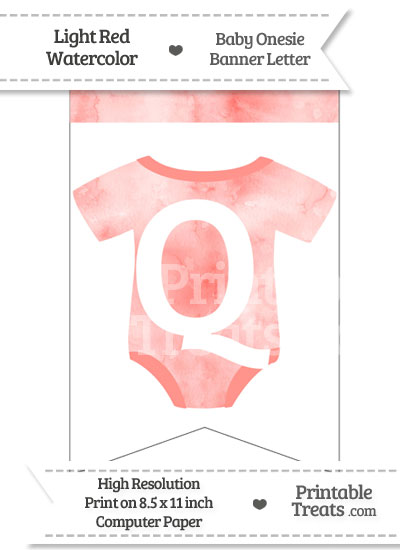 Light Red Watercolor Baby Onesie Bunting Banner Letter Q from PrintableTreats.com