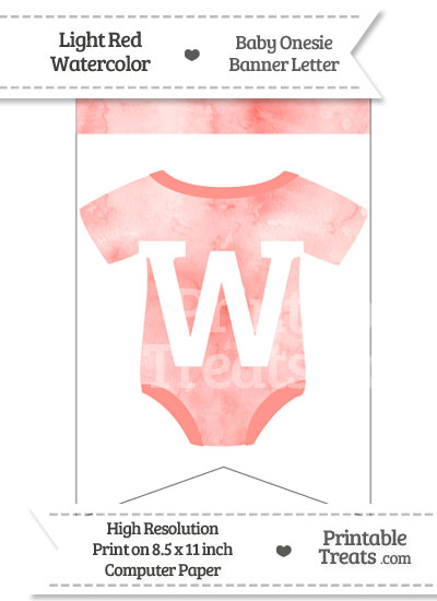 Light Red Watercolor Baby Onesie Bunting Banner Letter W from PrintableTreats.com