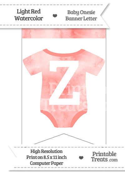 Light Red Watercolor Baby Onesie Bunting Banner Letter Z from PrintableTreats.com