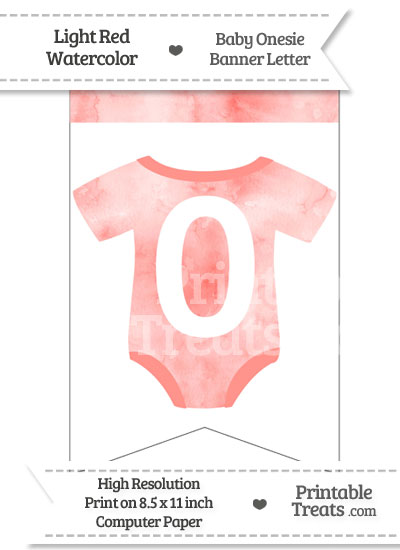 Light Red Watercolor Baby Onesie Bunting Banner Number 0 from PrintableTreats.com