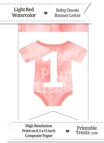 Light Red Watercolor Baby Onesie Bunting Banner Number 1 from PrintableTreats.com