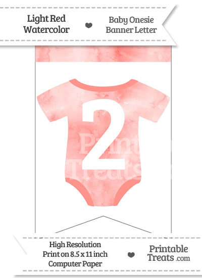 Light Red Watercolor Baby Onesie Bunting Banner Number 2 from PrintableTreats.com
