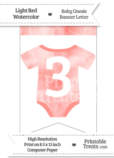 Light Red Watercolor Baby Onesie Bunting Banner Number 3 from PrintableTreats.com