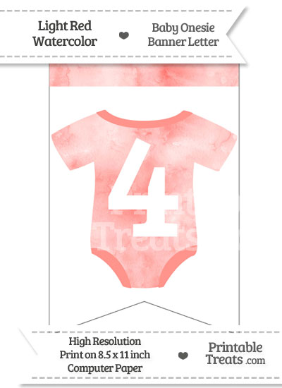 Light Red Watercolor Baby Onesie Bunting Banner Number 4 from PrintableTreats.com