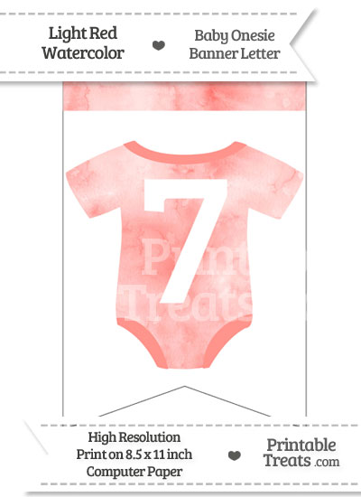Light Red Watercolor Baby Onesie Bunting Banner Number 7 from PrintableTreats.com