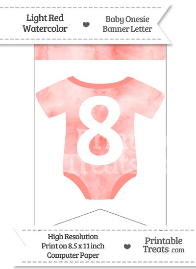 Light Red Watercolor Baby Onesie Bunting Banner Number 8 from PrintableTreats.com