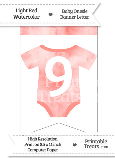 Light Red Watercolor Baby Onesie Bunting Banner Number 9 from PrintableTreats.com