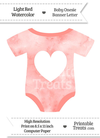 Light Red Watercolor Baby Onesie Shaped Banner Heart End Flag from PrintableTreats.com