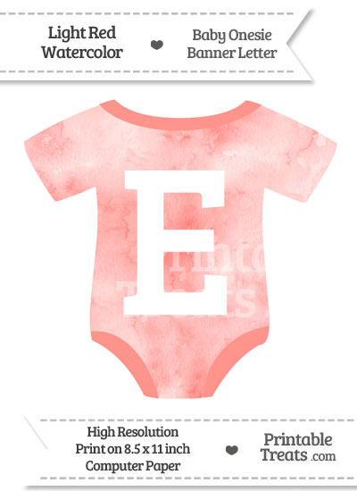 Light Red Watercolor Baby Onesie Shaped Banner Letter E from PrintableTreats.com