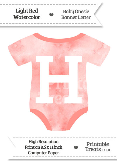 Light Red Watercolor Baby Onesie Shaped Banner Letter H from PrintableTreats.com