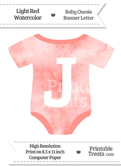 Light Red Watercolor Baby Onesie Shaped Banner Letter J from PrintableTreats.com