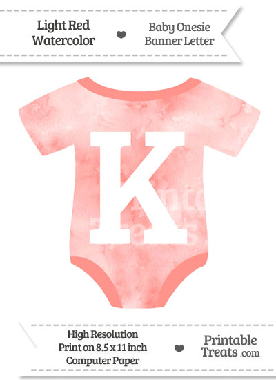 Light Red Watercolor Baby Onesie Shaped Banner Letter K from PrintableTreats.com