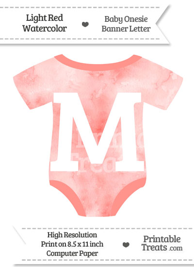 Light Red Watercolor Baby Onesie Shaped Banner Letter M from PrintableTreats.com