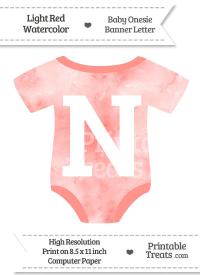 Light Red Watercolor Baby Onesie Shaped Banner Letter N from PrintableTreats.com