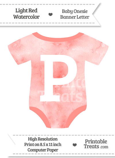 Light Red Watercolor Baby Onesie Shaped Banner Letter P from PrintableTreats.com