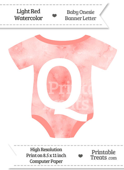 Light Red Watercolor Baby Onesie Shaped Banner Letter Q from PrintableTreats.com