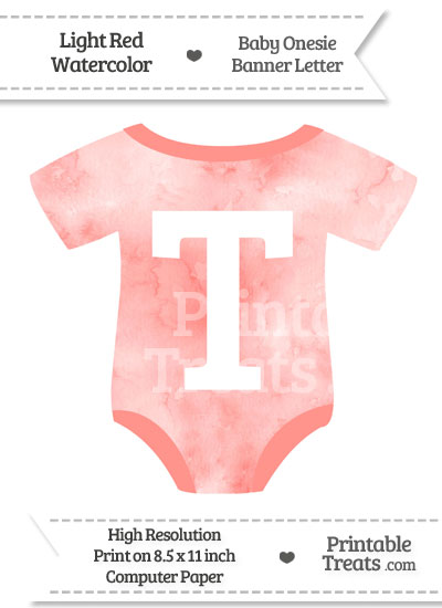 Light Red Watercolor Baby Onesie Shaped Banner Letter T from PrintableTreats.com