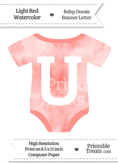 Light Red Watercolor Baby Onesie Shaped Banner Letter U from PrintableTreats.com