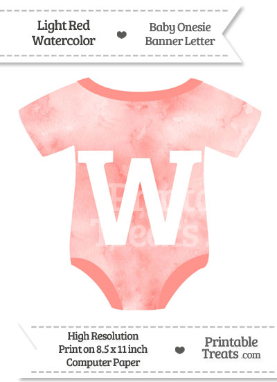 Light Red Watercolor Baby Onesie Shaped Banner Letter W from PrintableTreats.com