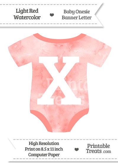Light Red Watercolor Baby Onesie Shaped Banner Letter X from PrintableTreats.com