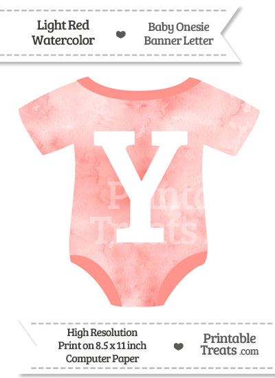 Light Red Watercolor Baby Onesie Shaped Banner Letter Y from PrintableTreats.com