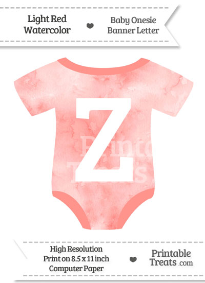 Light Red Watercolor Baby Onesie Shaped Banner Letter Z from PrintableTreats.com