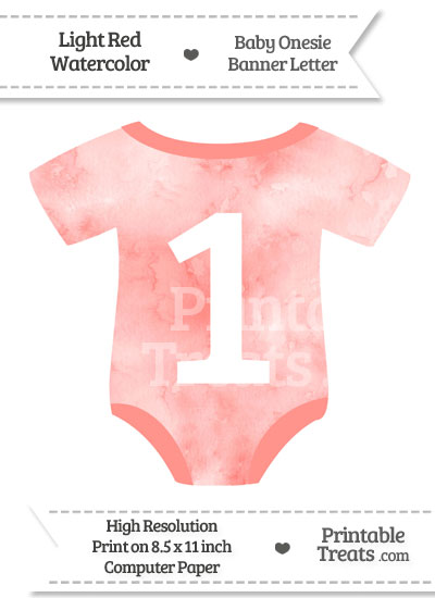 Light Red Watercolor Baby Onesie Shaped Banner Number 1 from PrintableTreats.com
