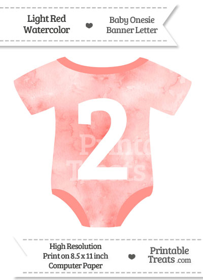Light Red Watercolor Baby Onesie Shaped Banner Number 2 from PrintableTreats.com