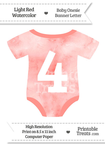 Light Red Watercolor Baby Onesie Shaped Banner Number 4 from PrintableTreats.com