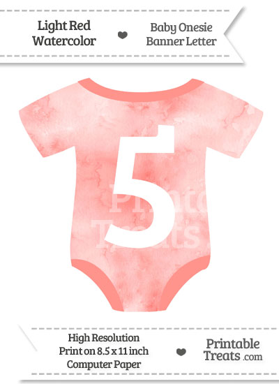 Light Red Watercolor Baby Onesie Shaped Banner Number 5 from PrintableTreats.com