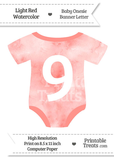 Light Red Watercolor Baby Onesie Shaped Banner Number 9 from PrintableTreats.com