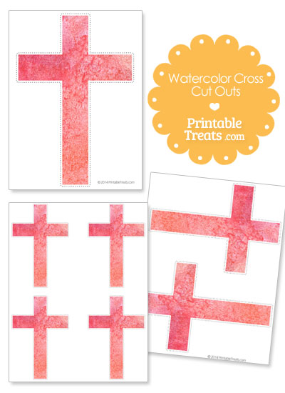 Light Red Watercolor Cross Cut Outs from PrintableTreats.com