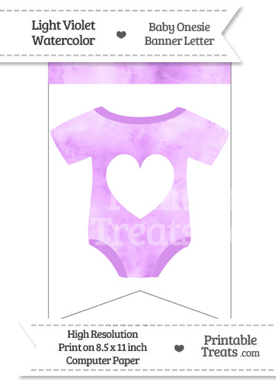 Light Violet Watercolor Baby Onesie Bunting Banner Heart End Flag from PrintableTreats.com