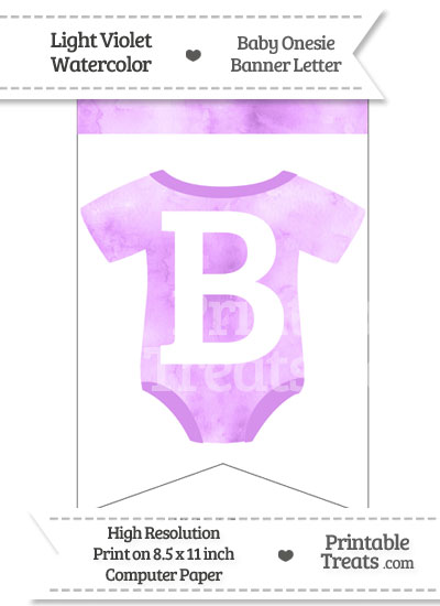 Light Violet Watercolor Baby Onesie Bunting Banner Letter B from PrintableTreats.com